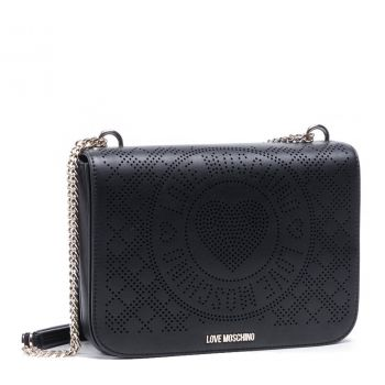 LOVE MOSCHINO Perforated Heart Line – Black Shoulder Bag