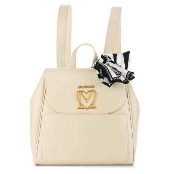 Zaino Donna LOVE MOSCHINO con Logo e Foulard color Avorio