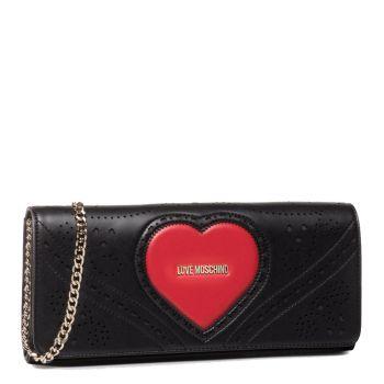 Pochette Donna con Tracolla LOVE MOSCHINO linea Heart Embroidery Nero