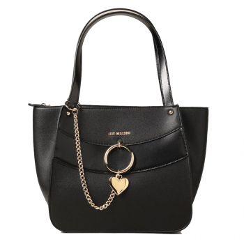 Borsa Donna Shopping a Spalla LOVE MOSCHINO linea Love Charm Nera