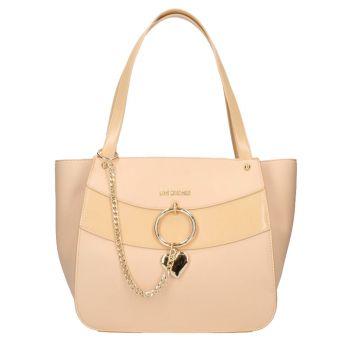 Borsa Donna Shopping a Spalla LOVE MOSCHINO linea Love Charm colore Naturale