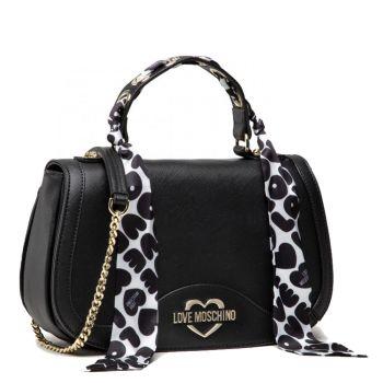 Borsa Donna a Mano con Tracolla LOVE MOSCHINO linea Logo Scarf colore Nero