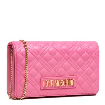 Clutch Donna con Tracolla a Catena LOVE MOSCHINO linea New Shiny Quilted Rosa