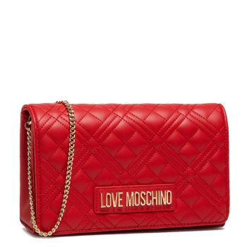 Clutch Donna con Tracolla a Catena LOVE MOSCHINO linea New Shiny Quilted Rosso