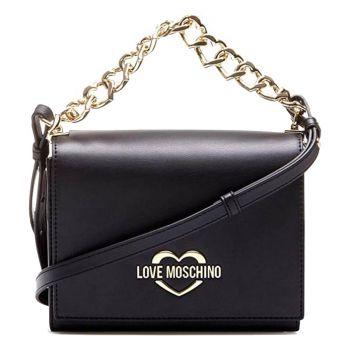 Borsa Donna a Mano con Tracolla LOVE MOSCHINO linea Chain Hearts Nero