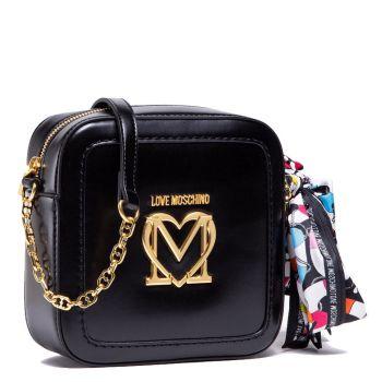 Borsa Donna a Tracolla LOVE MOSCHINO Nera con Foulard e Maxi Logo