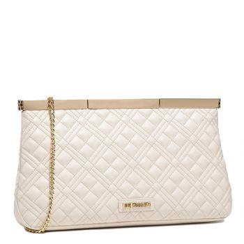 Maxi Clutch Donna LOVE MOSCHINO linea New Shiny Quilted Avorio