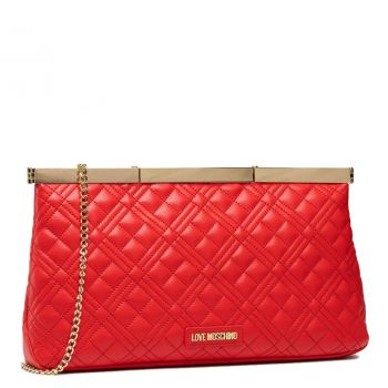 Maxi Clutch Donna LOVE MOSCHINO linea New Shiny Quilted Rosso