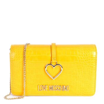 Borsa Donna Clutch stampa Cocco LOVE MOSCHINO con Charm Cuore color Mostarda