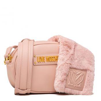 Borsa a Tracolla LOVE MOSCHINO linea Furry Scarf colore Rosa Cipria
