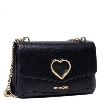 Borsa Donna a Spalla LOVE MOSCHINO linea Cut-Out Heart colore Nero