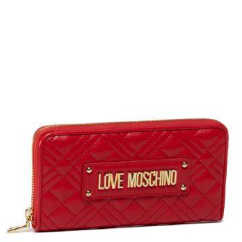 Portafoglio Donna Zip Around LOVE MOSCHINO Effetto Trapuntato Rosso