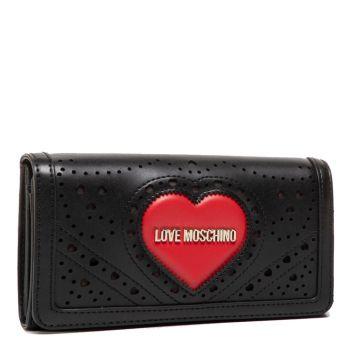 Portafoglio Donna con Clip LOVE MOSCHINO linea Heart Embroidery Nero