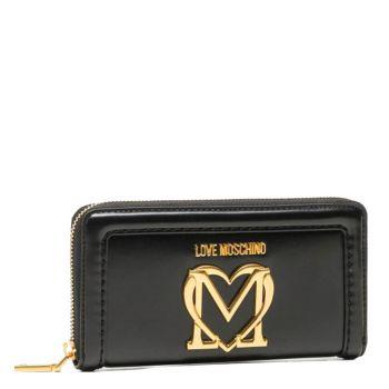 Portafoglio Donna Zip Around LOVE MOSCHINO Nero con Maxi Logo