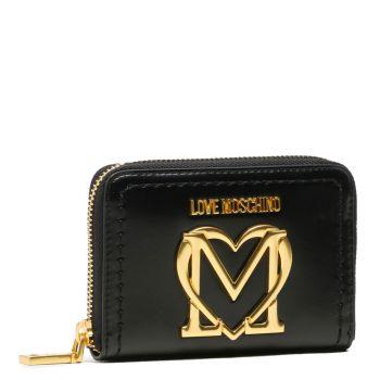 Portafoglio Donna Zip Around Piccolo LOVE MOSCHINO Nero con Maxi Logo