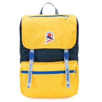 "Zaino Unisex Porta Pc 13"" INVICTA Jolly Vintage colore Blu e Giallo"