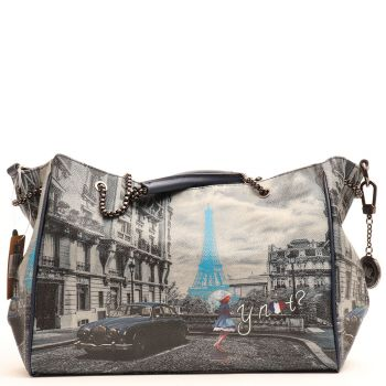 Borsa Donna Y NOT Shopping a Spalla con Manici a Catena K-392 Blue Rain