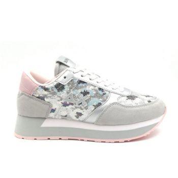 Scarpe Donna Sun68 Sneakers Kate Paillettes Animal Grigio Chiaro