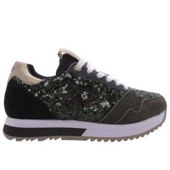 Scarpe Donna Sun68 Sneakers Kelly Solid Paillettes Militare Scuro