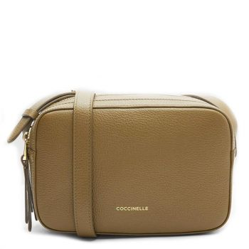COCCINELLE Lea Line – Small Moss Green Leather Shoulder Bag