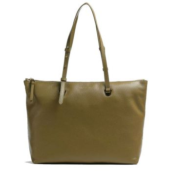 COCCINELLE Lea Line – Moss Green Leather Tote Bag