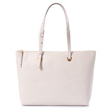COCCINELLE Lea Line – Lambskin White Leather Tote Bag