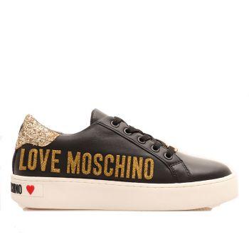 Scarpe Donna LOVE MOSCHINO Sneakers in Pelle Nera con Glitter Oro
