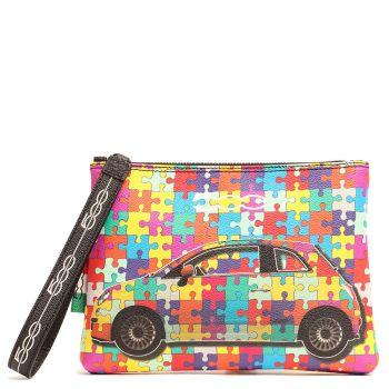 Pochette a Mano GABS Luanda M Stampa Camaleonti Puzzle Multicolor