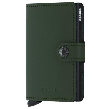 Porta Carte con Clip SECRID linea Matte in Pelle Verde con RFID