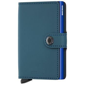 Porta Carte con Clip SECRID linea Matte in Pelle Petrol-Blue con RFID