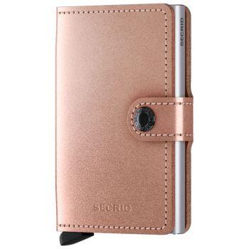 Porta Carte con Clip SECRID linea Metallic in Pelle Color Rose con RFID