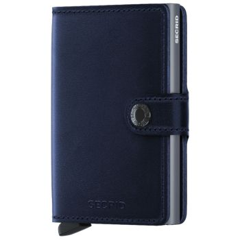 Porta Carte con Clip SECRID linea Polished in Pelle Blu Navy con RFID