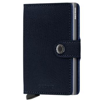 Porta Carte con Clip SECRID linea Rango in Pelle Blu con RFID