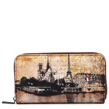 Portafoglio Donna Y NOT linea Material City MAT-361 Parigi - Chiusura Zip Around