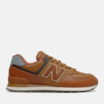 Scarpe Uomo NEW BALANCE Sneakers 574 in Pelle Premium colore Cognac
