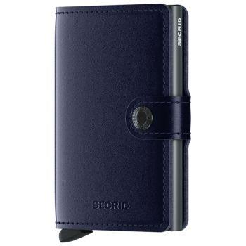 Porta Carte con Clip SECRID linea Metallic in Pelle Blue con RFID