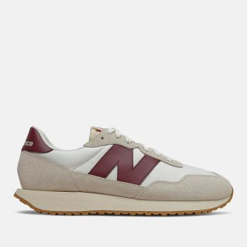 NEW BALANCE 237 Line – Off White Burgundy Suede Sneakers for Men