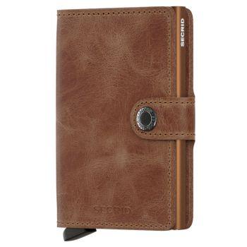 Porta Carte con Clip SECRID linea Vintage in Pelle Color Cognac con RFID