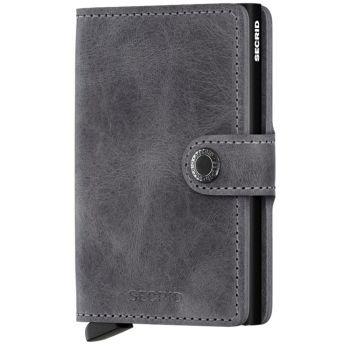 Porta Carte con Clip SECRID linea Vintage in Pelle Grey-Black con RFID