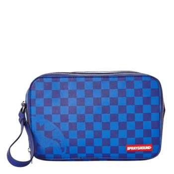 Necessaire SPRAYGROUND stampa Blue Checkered Sharks