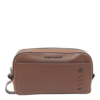 PIQUADRO Nabucco Line – Brown Leather Toiletry Bag For Men BY5445S110