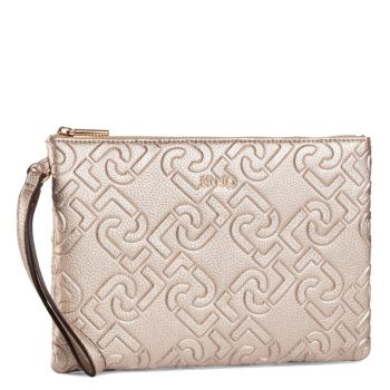 Pochette Donna a Mano LIU JO con Logo All Over Light Gold
