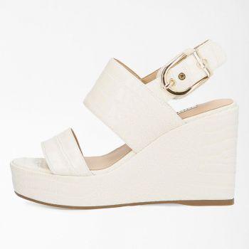 GUESS Nolita Line – Cream Croc Print Sandals with Platform