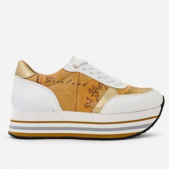 Sneakers Donna 1A Classe Alviero Martini Colore Bianco con Dettaglio Geo Classic P340