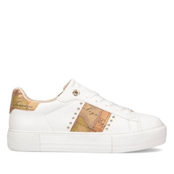 Sneakers Donna 1A Classe Alviero Martini colore Bianco con Fascia Geo Classic e Borchie 10880