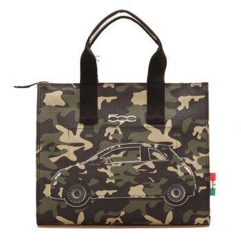 Borsa Donna Shopping Media GABS Parigi stampa Camaleonti colore Verde Militare