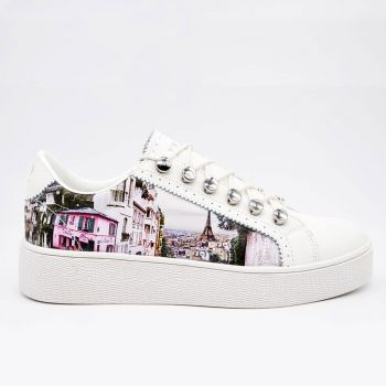 Scarpe Donna Y Not Sneakers Stampa Paris Charleston Linea Yes