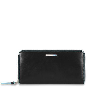Portafoglio Donna Chiuso Con Zip PIQUADRO In Pelle Nera - PD3229B2 Linea Blue Square