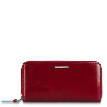 Portafoglio Donna Chiuso Con Zip PIQUADRO In Pelle Rosso - PD3229B2 Linea Blue Square