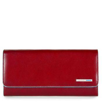 Portafoglio Donna con Porta Documenti Estraibile PIQUADRO In Pelle Rossa - PD3889B2 Linea Blue Square